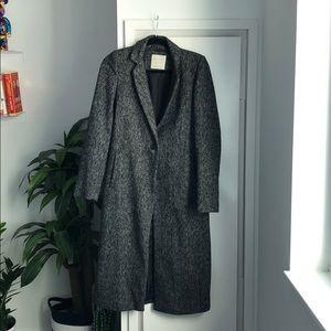 Zara Dark Grey Herringbone Coat